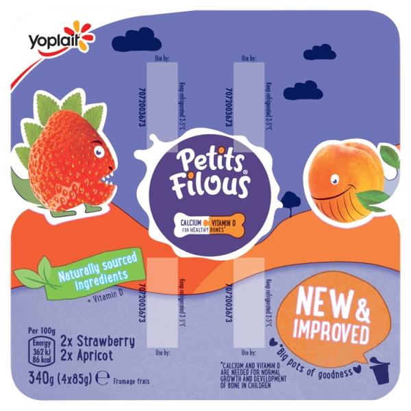 Yoplait Petits Filous Strawberry & Apricot Big Pot 4 Pack