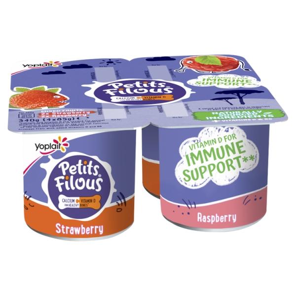 Yoplait Petits Filous Strawberry & Raspberry Big Pot 4 Pack