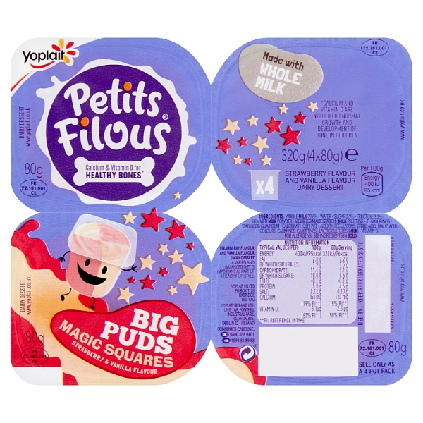 Yoplait Petits Filous Strawberry & Vanilla Yogurt 4 Pack