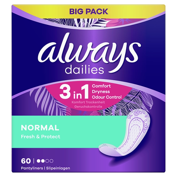 Always Dailies Fresh and Protect Panty Liners Normal