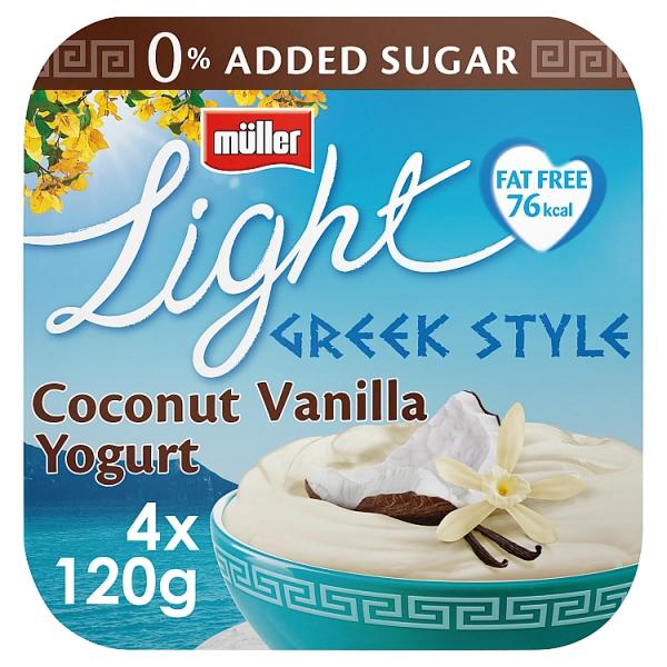 Muller Light Greek Style Coconut & Vanilla Yogurt 4 Pack