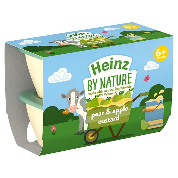 Heinz By Nature Pear & Apple Custard 4 Pack 4+ Months