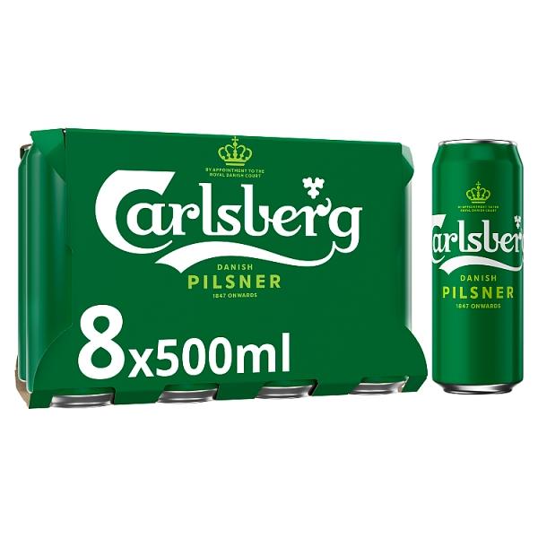 Carlsberg Danish Pilsner Lager Cans 8 Pack