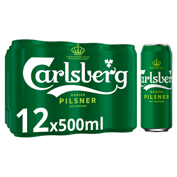 Carlsberg Danish Pilsner Lager Cans 12 Pack