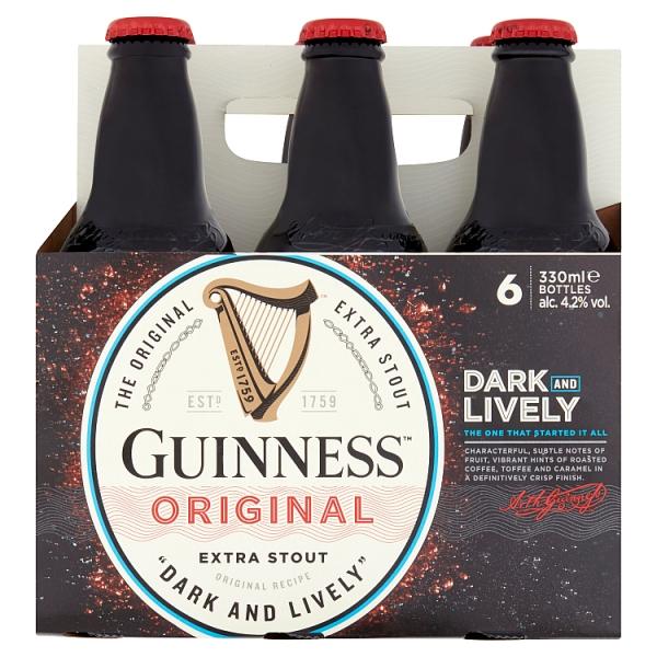 Guinness Extra Stout 6 Pack Bottles