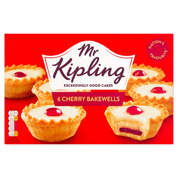 03f1e7038d Mr Kipling Cherry Bakewells 6 Pack (318 Grams)