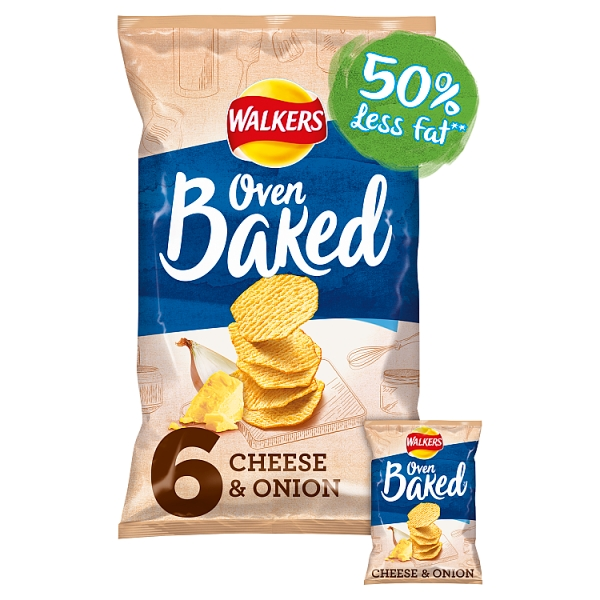 Walkers Baked Crisps Cheese & Onion 6 Pack
