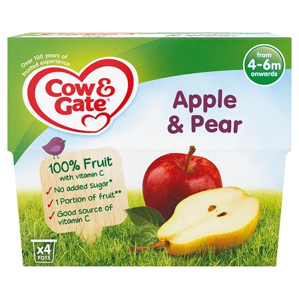 Cow & Gate Apple & Pear Fruit Pot 4+ Months 4 Pack