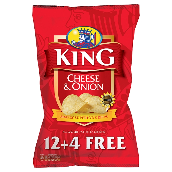 King Cheese & Onion Crisps 12+4 Free Pack