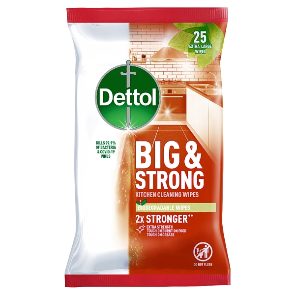Dettol Big & Strong Antibacterial Kitchen Wipes 25 Pack