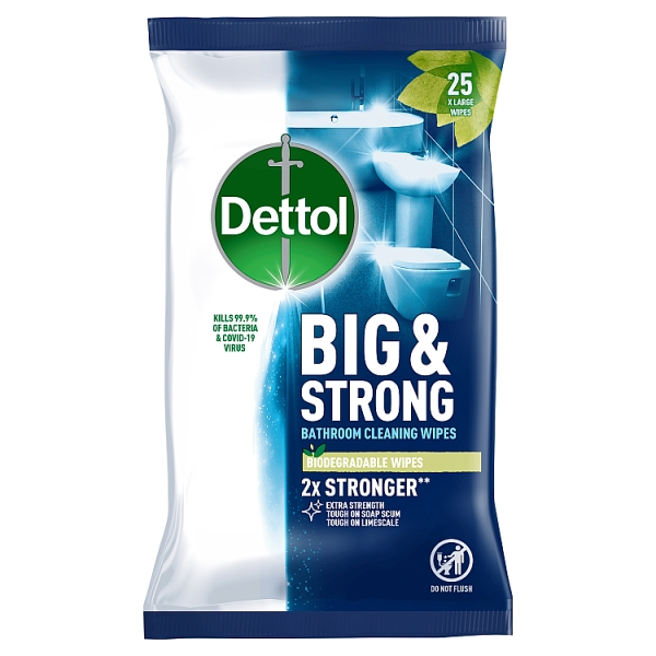 Dettol Big & Strong Antibacterial Bathroom Wipes 25 Pack