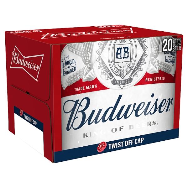 Budweiser Lager Bottles 20 Pack