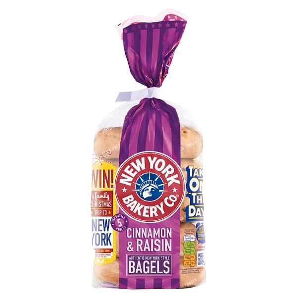 New York Bakery Co. Cinnamon and Raisin Bagels 5 Pack
