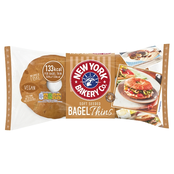 New York Bakery Co. Soft Seeded Bagel Thins 4 Pack