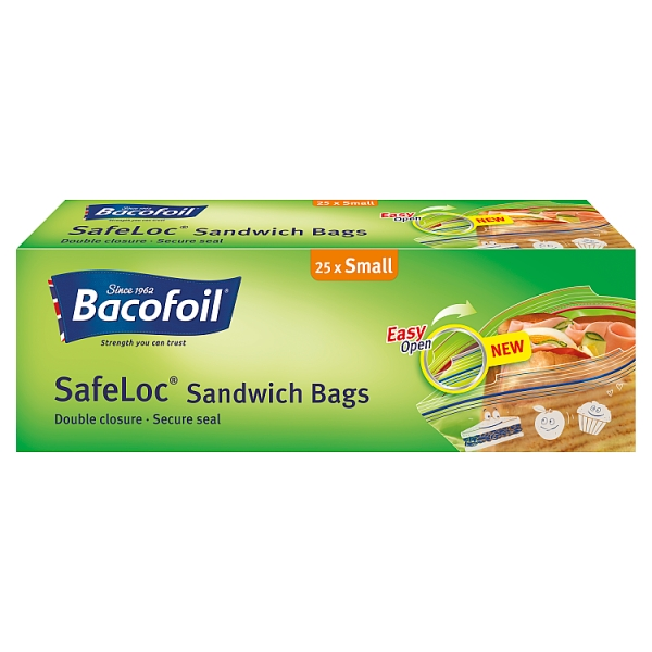 Bacofoil Safeloc Small Sandwich Bags 25 Pack