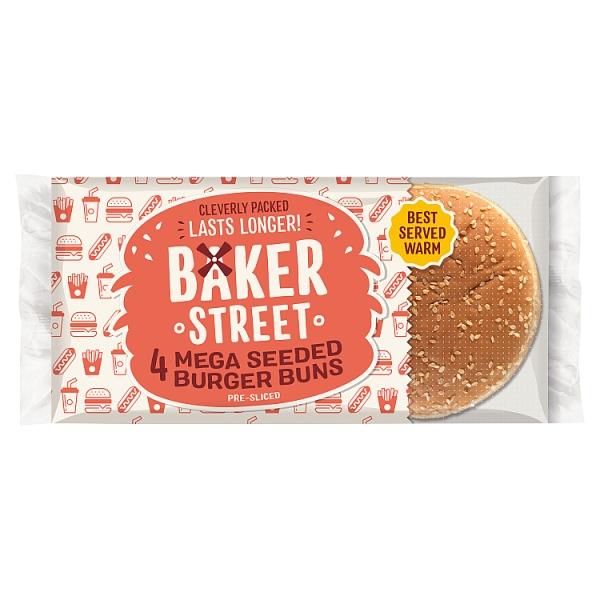 Baker Street Mega Seeded Burger Buns 4 Pack