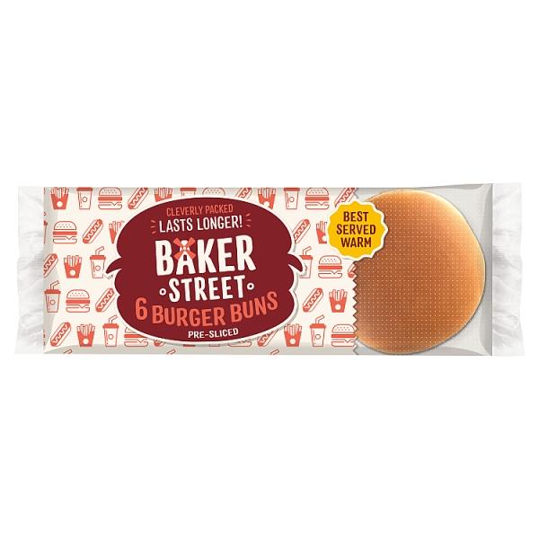 Baker Street Plain Burger Buns 6 Pack