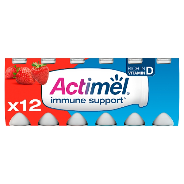 Danone Actimel Strawberry Yogurt Drink 12 Pack