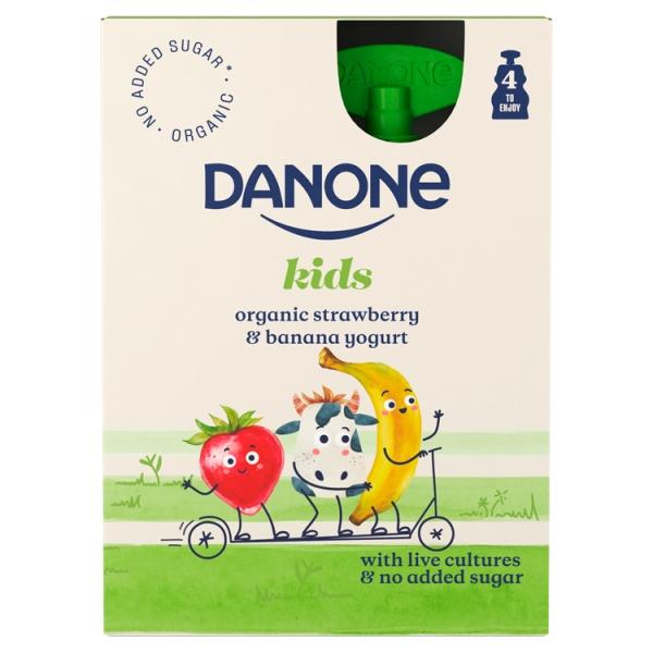 Danone Brand Kids Pouch Strawberry Banana 4 Pack