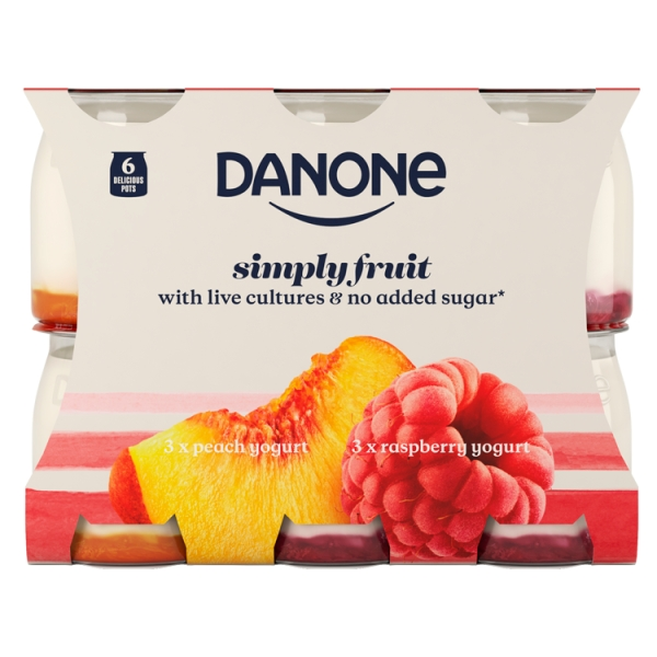 Danone Multipack Peach Raspberry 6 Pack