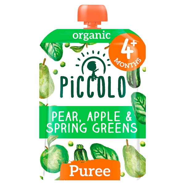 Piccolo Organic Pear, Apple & Spring Greens 4+ Months