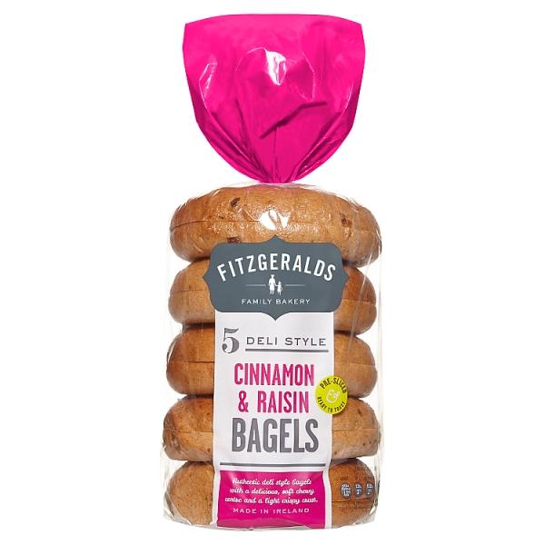Fitzgeralds Cinnamon and Raisin Bagels 5 Pack