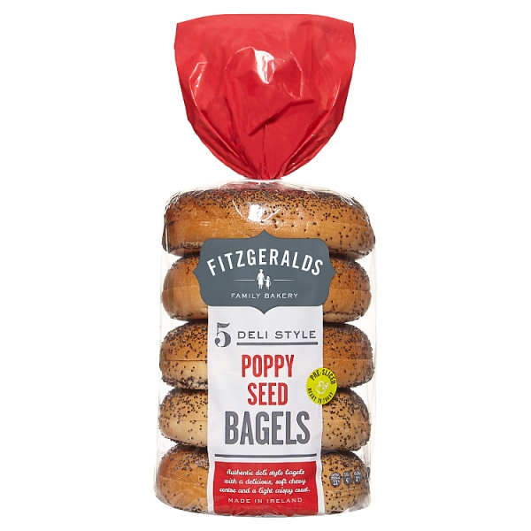 Fitzgeralds Poppy Seed Bagels 5 Pack