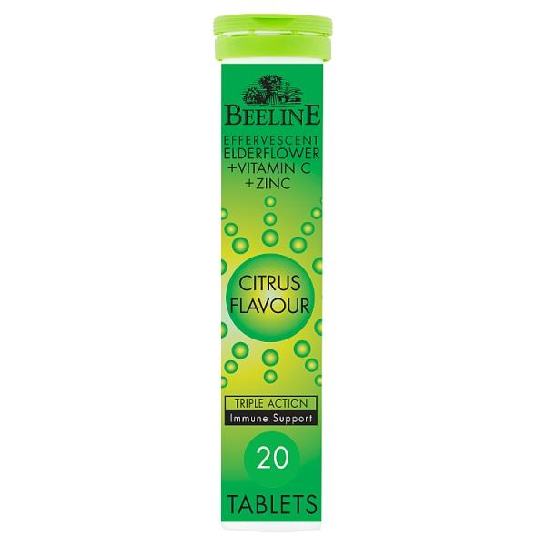 BeeLine Citrus Flavour Elderflower, Vitamin C & Zinc Effervescent Tablets