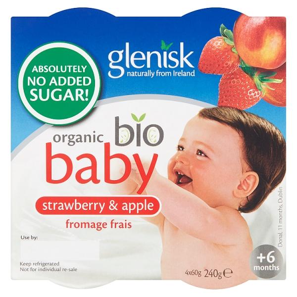 Glenisk Organic Baby Strawberry & Apple Yogurt 4 Pack