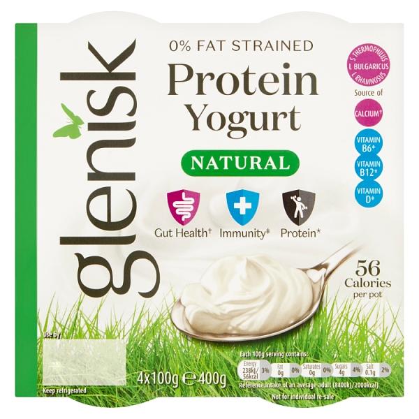Glenisk 0% Fat Natural Protein Yogurt 4 Pack