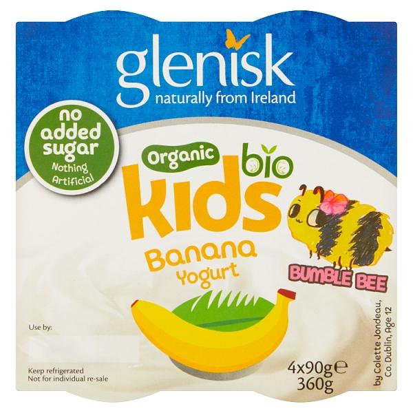 Glenisk Organic Kids Banana Yogurt 4 Pack