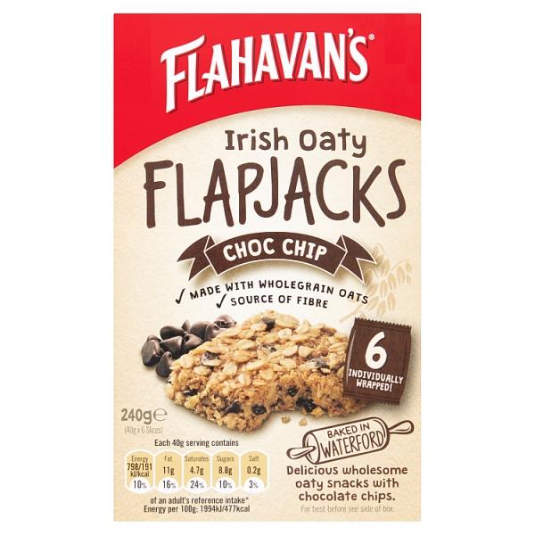 Flahavan's Irish Oaty Flapjacks Chocolate Chip 6 Pack