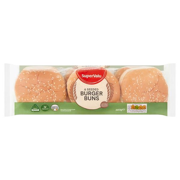 SuperValu Seeded Burger Buns 6 Pack