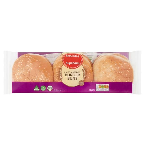 SuperValu Mega Seeded Burger Buns 6 Pack