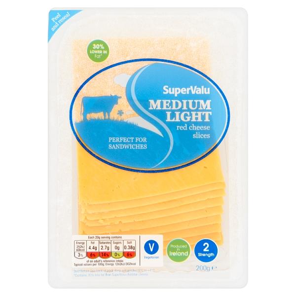 SuperValu Light Red Sliced Cheddar Cheese