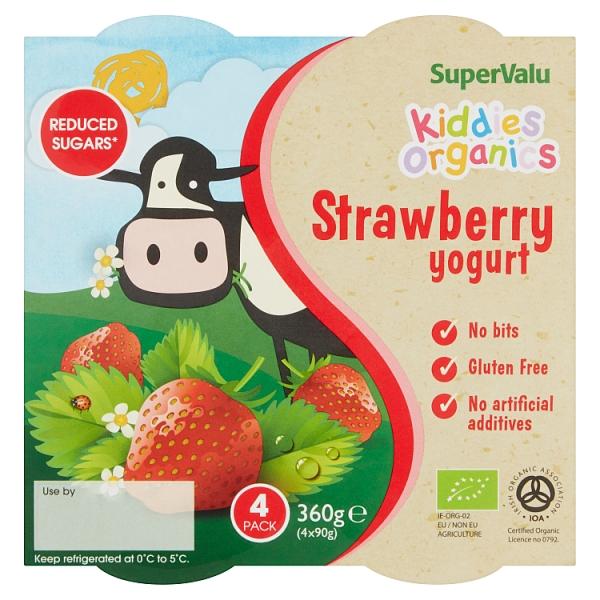 SuperValu Kids Organic Strawberry Yogurt 4 Pack
