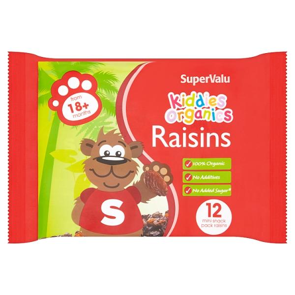 SuperValu Kiddies Organic Raisins 18+ Months 12 Mini Packs