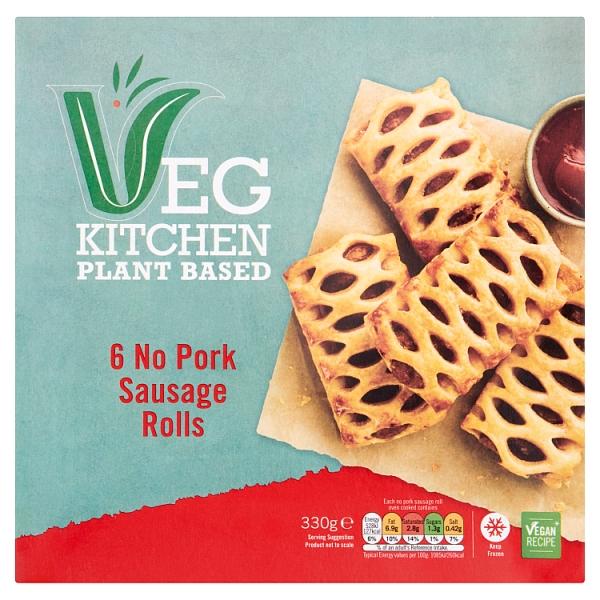 Vegetable Kitchen No Pork Sausage Rolls 6 Pack