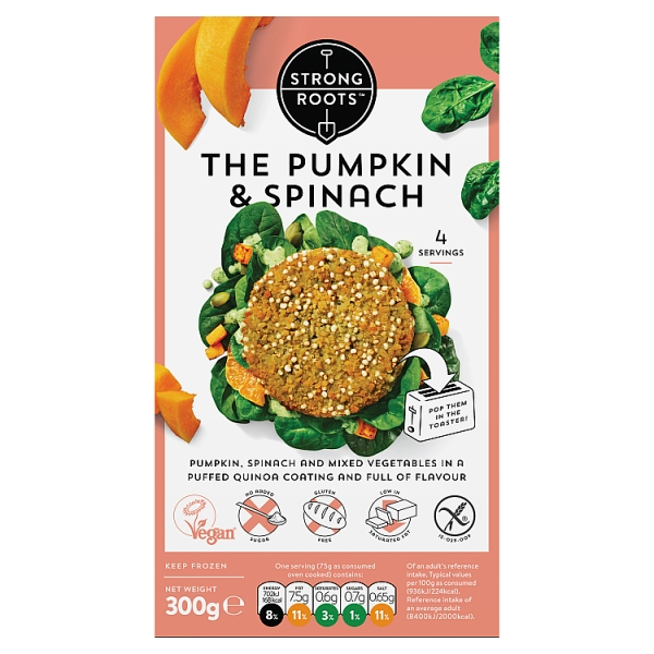 Strong Roots Spinach And Pumpkin Burger