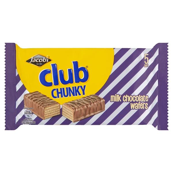 Jacobs Club Wafer Chunky Chocolate 5 140 Grams