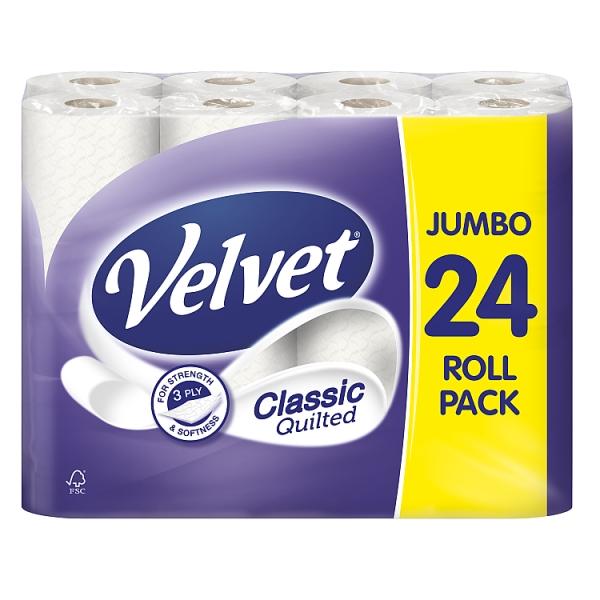 Velvet Classic Quilted Toilet Tissue 24 Roll