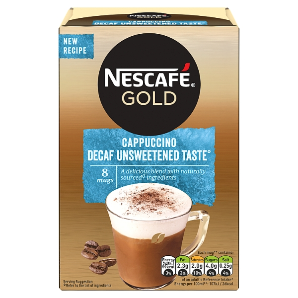 Nescafé Gold Instant Decaf Unsweetened Cappuccino 8 Pack