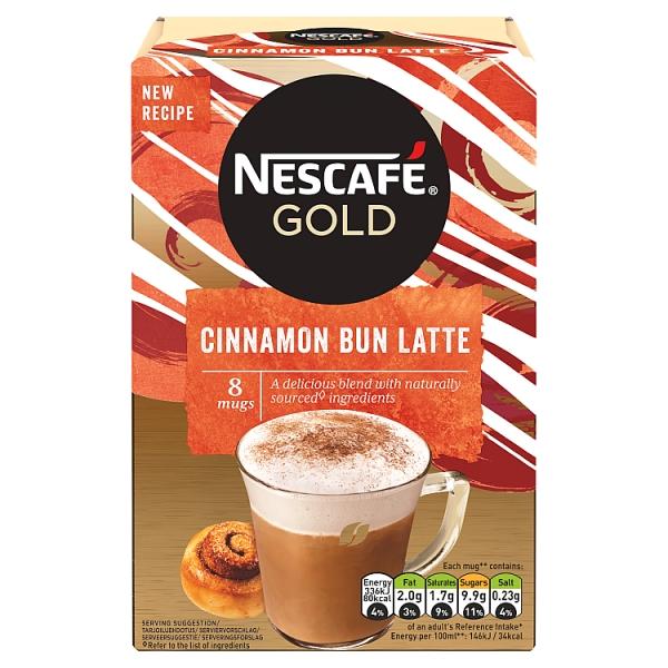 Nescafé Gold Cinnamon Bun Latte Sachets 8 Pack