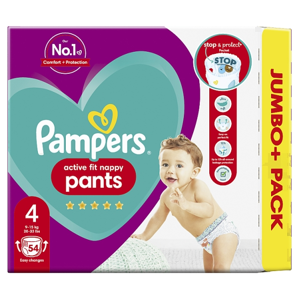 Pampers Active Fit Nappy Pants Size 4 Jumbo+ Pack