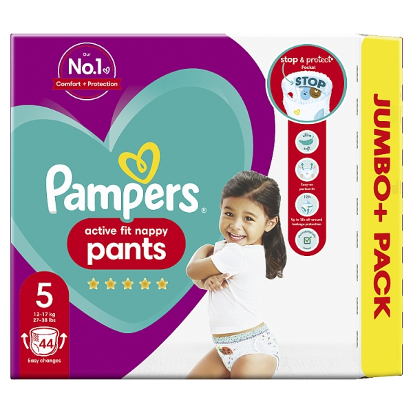 Pampers Active Fit Nappy Pants Size 5 Jumbo+ Pack