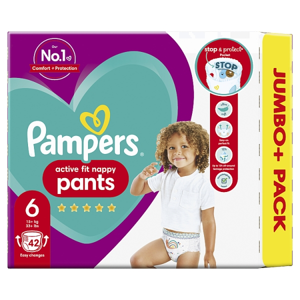 Pampers Active Fit Nappy Pants Size 6 Jumbo+ Pack