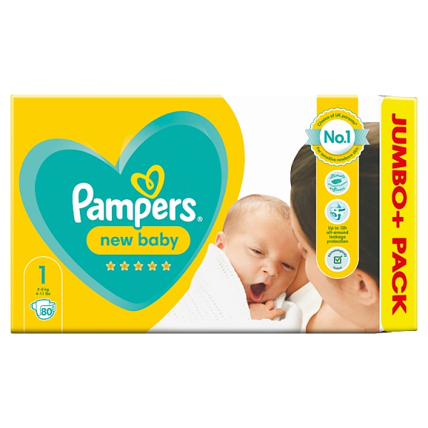 Pampers New Baby Size 1 Nappies Jumbo+ Pack
