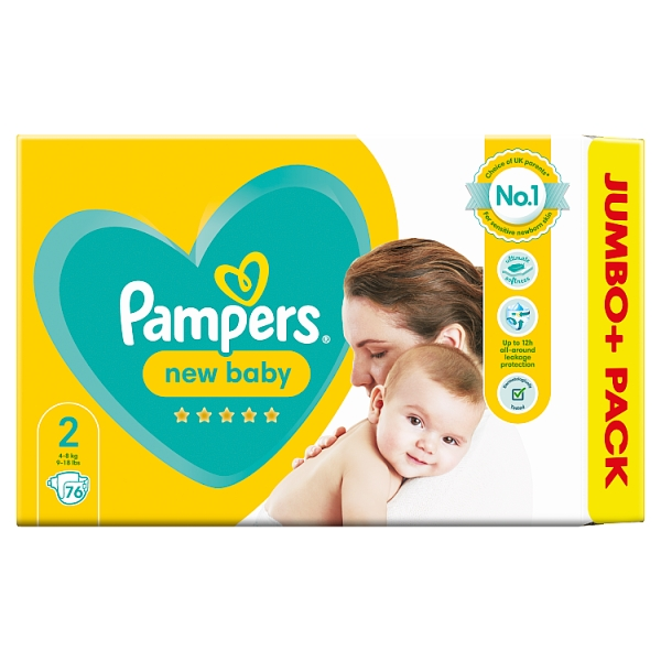 Pampers New Baby Size 2 Nappies Jumbo+ Pack