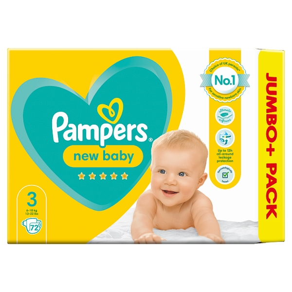 Pampers New Baby Size 3 Nappies Jumbo+ Pack