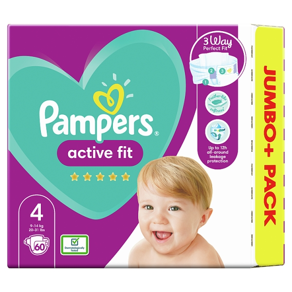 Pampers Active Fit Size 4 Nappies Jumbo+ Pack